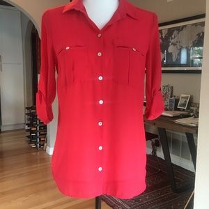 H&M Fuchsia Button Down Blouse (Size 6)